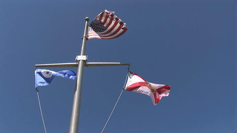 Flags of US Florida and Kissimmee Stock Video Footage