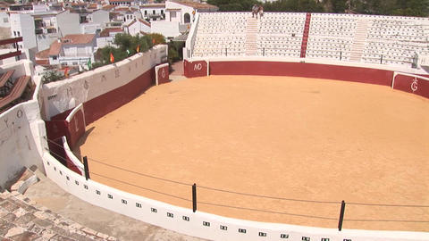 Mijas and bull fighting arena Stock Video Footage