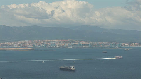 Ships seen from Gibraltar Stock Video Footage