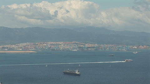 Ships seen from Gibraltar Footage