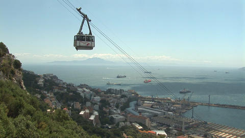 Cable car at Gibraltar Stock Video Footage