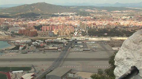 Airport and border crossing at Gibraltar Stock Video Footage