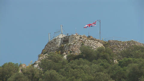 UK flag on top of Gibraltar Footage