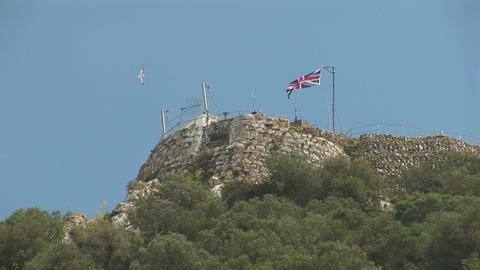 UK flag on top of Gibraltar Stock Video Footage