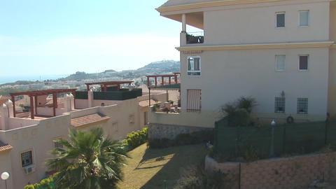 Flying over neighborhood in Spain Stock Video Footage