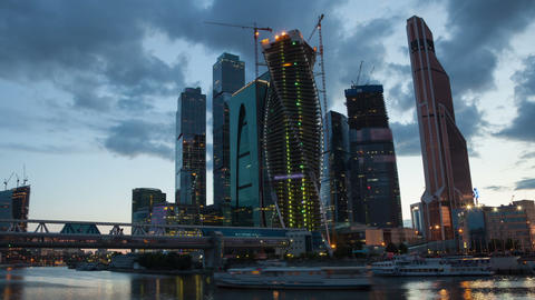 Moscow Skyscrapers sunset hyperlapse Stock Video Footage