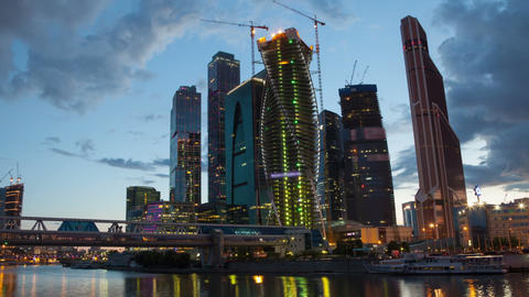 Moscow Skyscrapers sunset hyperlapse Footage