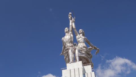 Worker and Kolkhoz Woman hyperlapse Stock Video Footage