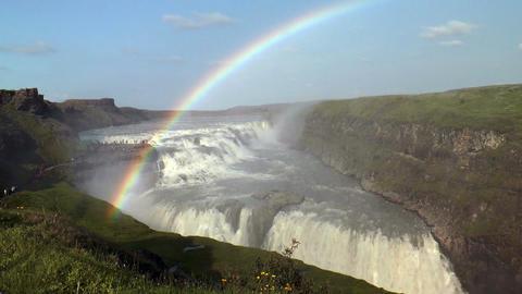 rainbow above gullfoss waterfall Stock Video Footage