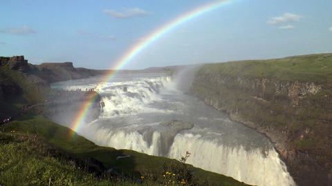 rainbow above gullfoss waterfall Footage