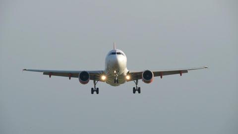 airplane landing overhead shot close 11019 Stock Video Footage