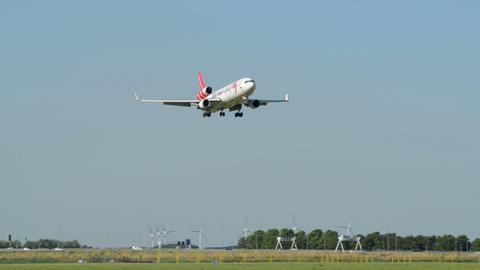 Martinair Cargo airplane landing on runway 11025 Stock Video Footage