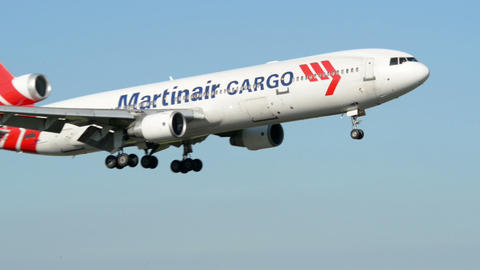 Martinair Cargo airplane landing on runway 11025 Footage