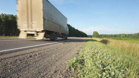 Road with a truck Stock Video Footage