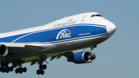 Air Bridge Cargo Boeing 747 airplane landing 11027 Footage