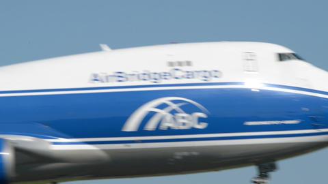 Air Bridge Cargo Boeing 747 airplane landing 11027 Stock Video Footage