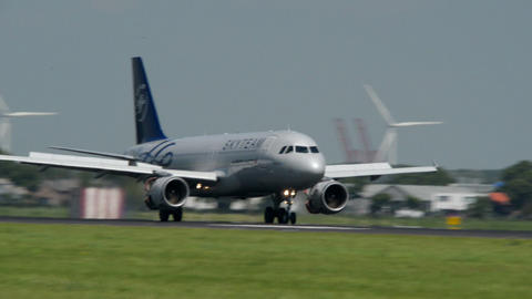 Skyteam Air France airplane landing softly 11029 Stock Video Footage
