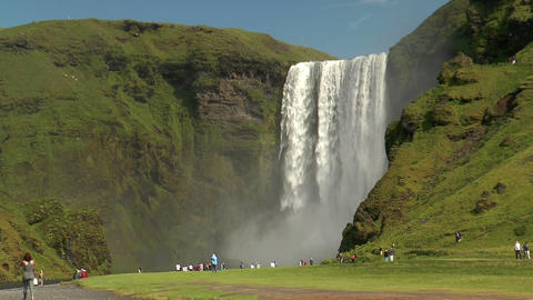 skogafoss waterfall in iceland Footage
