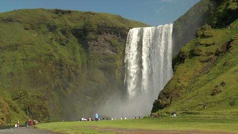 skogafoss waterfall in iceland Stock Video Footage