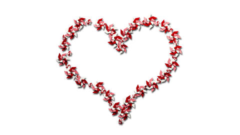 Pinwheel Heart on White Stock Video Footage