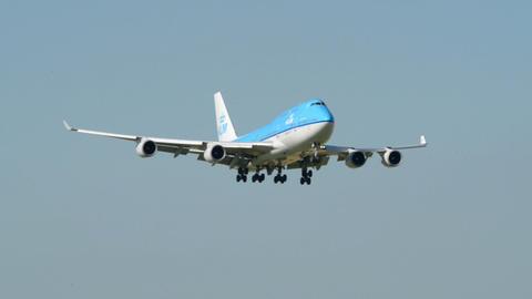 big KLM Boeing 747 Jumbo airplane landing 11034 Stock Video Footage