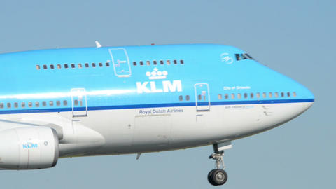 big KLM Boeing 747 Jumbo airplane landing 11034 Footage
