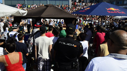Public view of B-boying competition Stock Video Footage