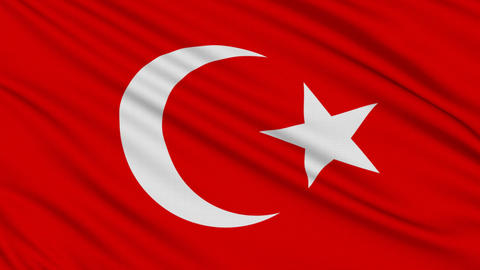 Turkish flag, with real structure of a fabric Stock Video Footage