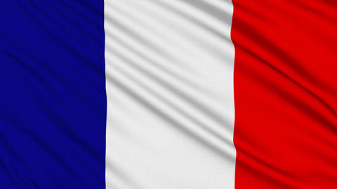 French flag, with real structure of a fabric Stock Video Footage
