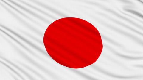Japanese flag, with real structure of a fabric Animation