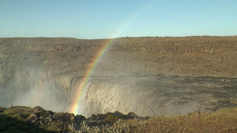rainbow above detifoss waterfall in iceland Stock Video Footage
