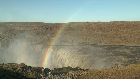 rainbow above detifoss waterfall in iceland Footage