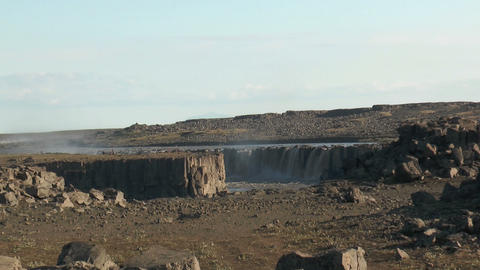 selfoss waterfall in iceland zoom in Stock Video Footage