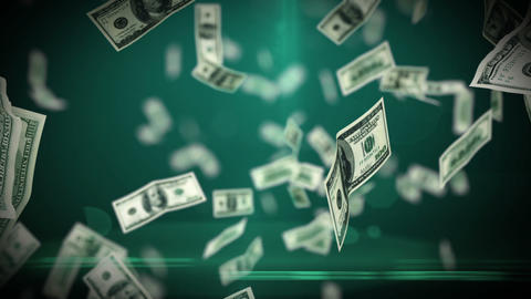 100 Dollar bills flying up in looped animation. HD Stock Video Footage