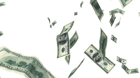 Hundred Dollar bills flying up in looped animation Stock Video Footage