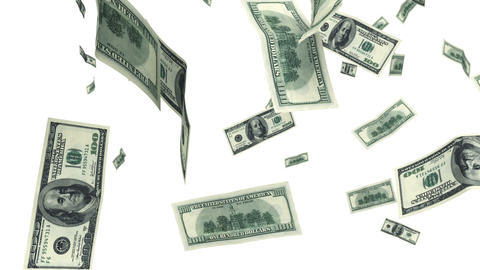 Hundred Dollar bills flying up in looped animation Animation