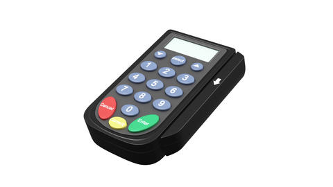 Credit Card Terminal with Card flying in HD, alpha Animation