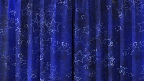 Curtain opening blue. HD 1080 Animation