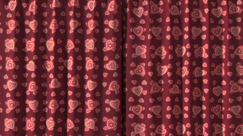 Curtain opening red hearts. HD 1080 Animation