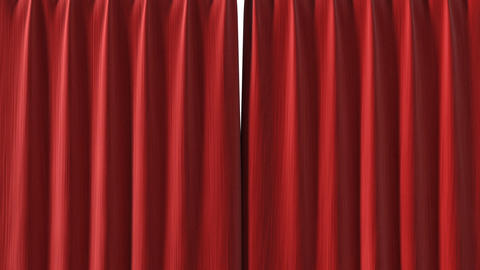 Red Curtain opening in high definition with alpha Stock Video Footage