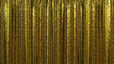 Highly detailed 3d animation of Gold curtain openi Stock Video Footage