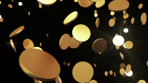Gold coins flying up on black. Beautiful Looped an Stock Video Footage