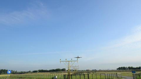 Jumbo airplane landing wide 11042 Stock Video Footage