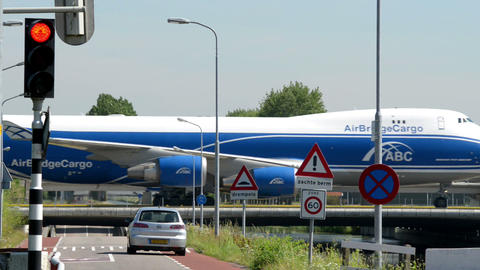 Boeing 747 Jumbo airplane on taxiway bridge 11044 Footage
