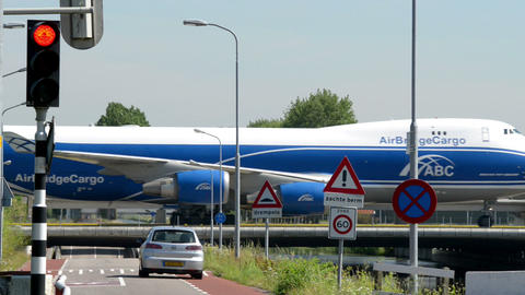 Boeing 747 Jumbo airplane on taxiway bridge 11044 Stock Video Footage