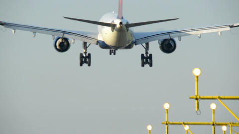 airplane landing close backview 11046 Stock Video Footage