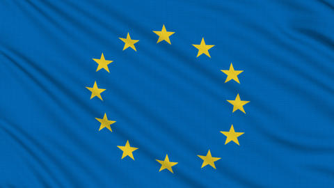 Europe flag, with real structure of a fabric Animation