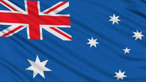 Australian flag, with real structure of a fabric Stock Video Footage