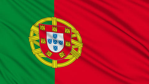 Portuguese flag, with real structure of a fabric Stock Video Footage
