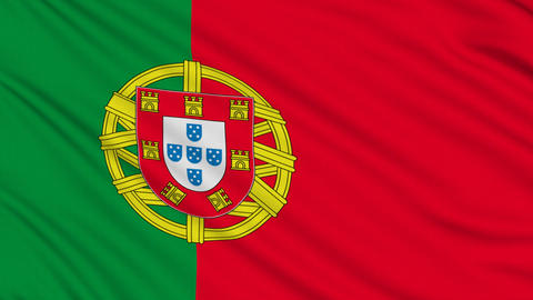 Portuguese flag, with real structure of a fabric Animation